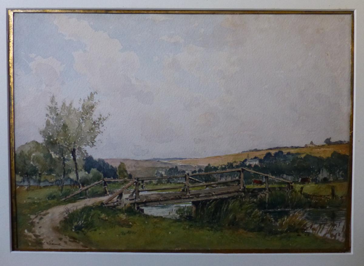 Paul Lecomte (1842-1920) Le Pont De Bois Sur l'Airaines, Aquarelle