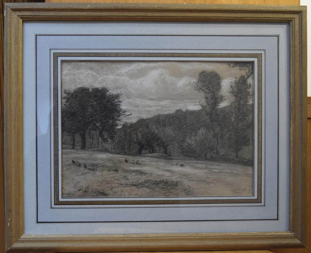 Charles-Emile Jacque (1813-1894) La Prairie, Fusain