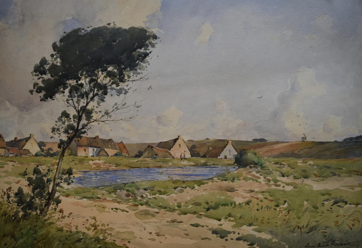Paul-Emile Lecomte (1877-1950) Vue de village, grande aquare