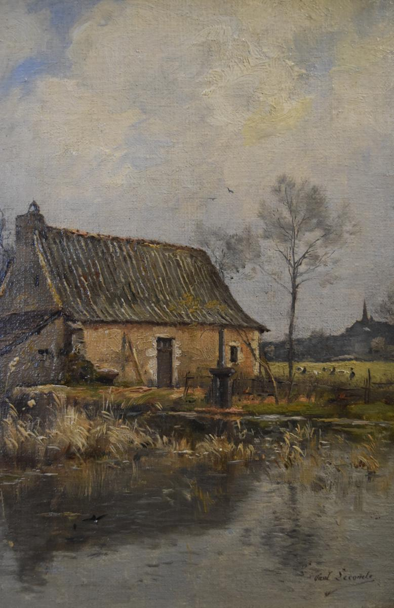 Paul Lecomte (1842-1920) Une Ferme à l'étang, Huile Sur Toile