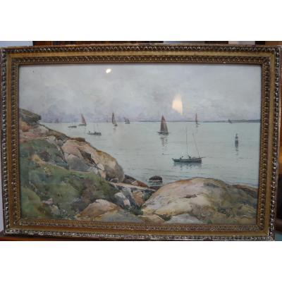 Paul Lecomte (1842-1920) Bateaux De Pêche Au Large, Aquarelle