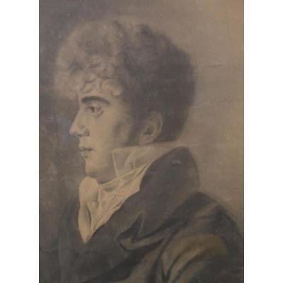 Ecole Française Vers 1830 Jeune Homme De Profil, Grand Dessin encadré