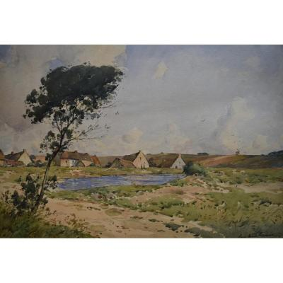 Paul-Emile Lecomte (1877-1950) Vue de village, grande aquare