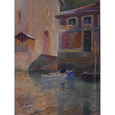 Paul-Emile Lecomte (1877-1950) Canal à Venise, Aquarelle