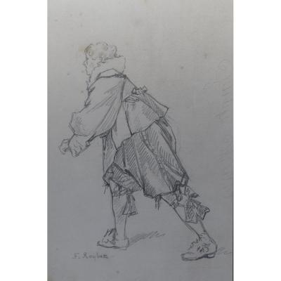 French School XIX, Study Of A Musketeer, Pencil