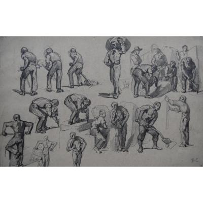 Monogrammist Dc, France 19th Century, Different Types Of Workers, Drawing