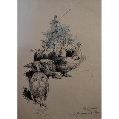 Gustave Fraipont (1849-1923) Une Paysanne Avec Son Troupeau De Dindons, Dessin
