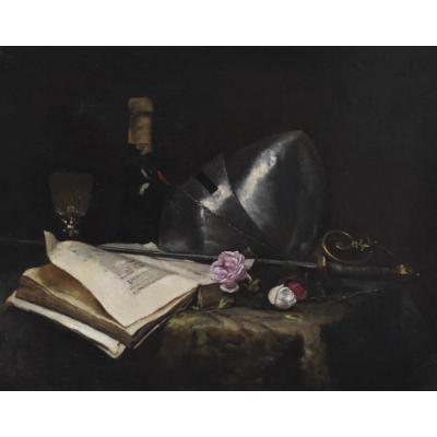 Ecole Française Du XIXe Siècle, Nature Morte Romantique Avec Une épée, Un Livre Et Des Roses