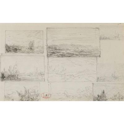 Félix Ziem (1821-1911) Études De Paysages Et Marines, Graphite Sur Papier
