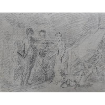 French School Eighteenth Century, The Surprised Lovers, Original Drawing