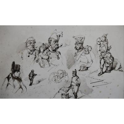 Edouard Chevret (1835-1864) Napoleon And His Grognards, Studies Ink On Paper