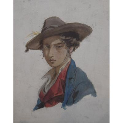 Attributed To Isidore Pils (1813-1875) Portrait Of Young Man, Watercolor
