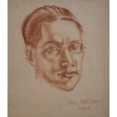 André Favory (1889-1937) Portrait Du Poète Jacques Portail, 1923, Sanguine