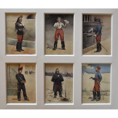 Jules Monge (1855-1934) French Soldiers, Six Watercolors