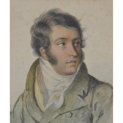 French School Circa 1820, Portrait Of Young Man, Drawing