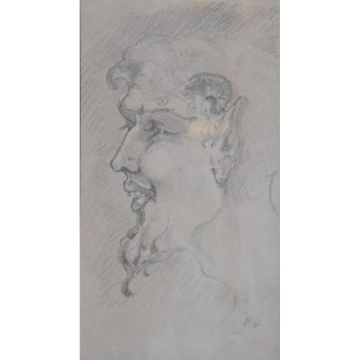 France Early 20th Century, Head Of A Faun, Original Drawing
