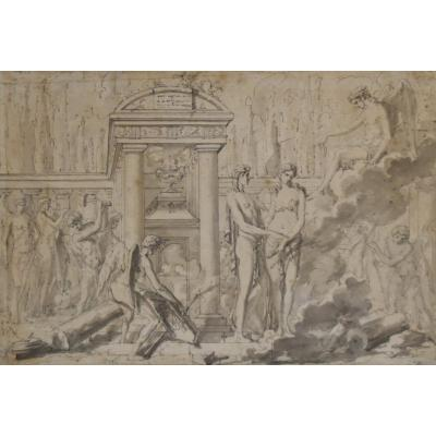 Louis-félix Delarue (1730-1777) A Mythological Scene, Drawing Dated 1776