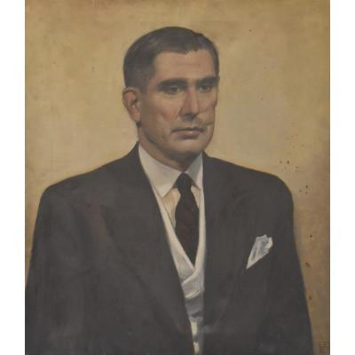 Ecole Moderne Vers 1930, Portrait d'Homme, Monogrammé AH, Huile Sur Toile