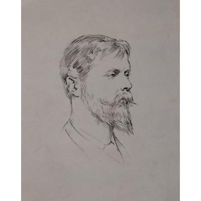 Theodore Blake Wirgman (1848-1925)  Portrait d'Ernest Albert Waterlow, Dessin à La Plume