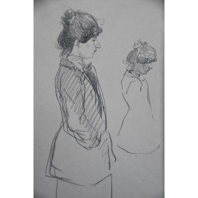 Theophile Alexandre Steinlen (1859-1923) Two Studies Of Women In Profile, Charcoal