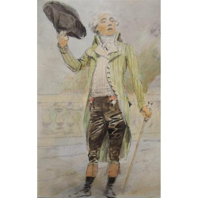 French School 19th Century, A Young Man At The Time Of The French Revolution, Watercolor