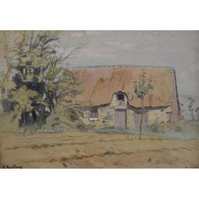 Charles-victor Guilloux (1866-1946) A Thatched Cottage, Watercolor