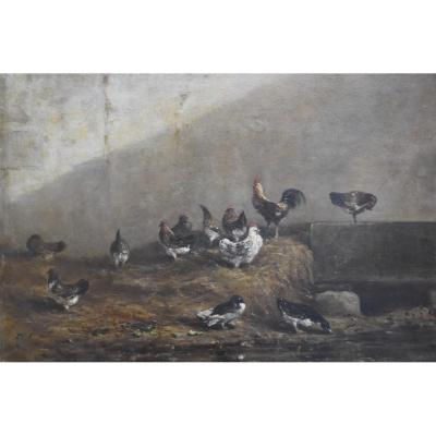 Alexandre Gabriel Decamps (1803-1860) Hens And Ducks In A Farmyard, Oil
