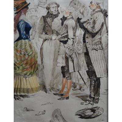 Edouard Detaille (1848-1912), Carnival Scene, Signed Watercolor