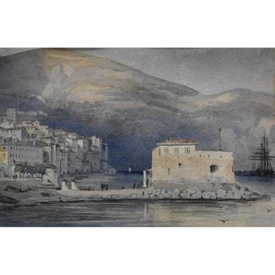 French School Of The XIXth Century, Villefranche Sur Mer, Watercolor
