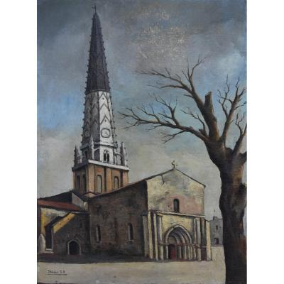 Jean Robert Ithier (1904-1977) Ars En Ré, View Of The Church, Oil On Canvas