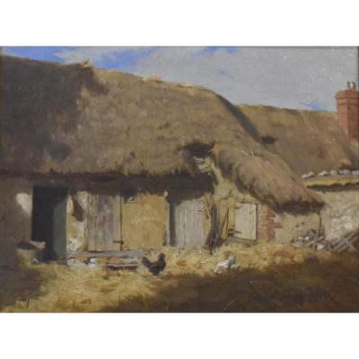 Alexandre Defaux (1826-1900) A Thatched Cottage, Oil On Panel