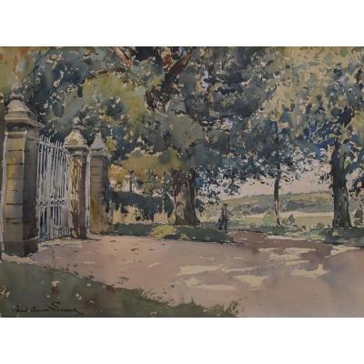 Paul Emile Lecomte (1877-1950)  La Grille, Aquarelle Signée