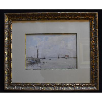 Paul Lecomte (1842-1920), View Of Gravesend, Signed Watercolor