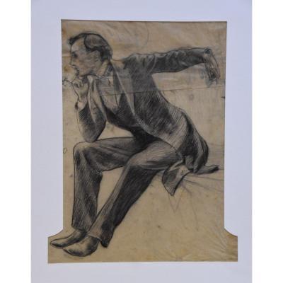 Ga Rochegrosse (1859-1938) A Seated Man, Study Exposition Internationale Paris 1900