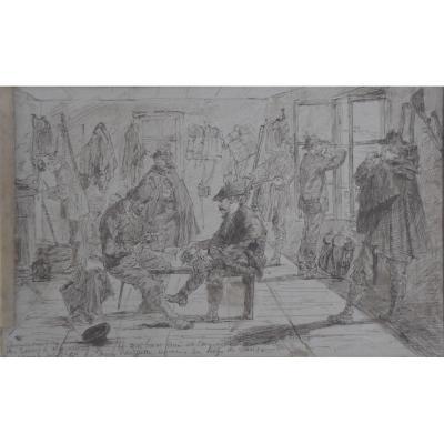 Ecole Française XIX°, Cantonnement De Soldats, épisode De La Guerre De 1870, Plume Et Encre