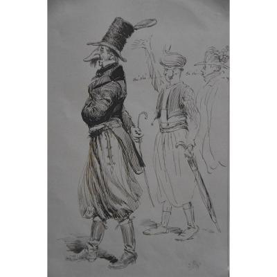 Edouard Detaille (1848 1912) Personages De Carnaval, Dessin Signé