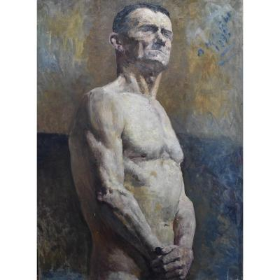 Alfred Marie Le Petit (1876-1953)  Académie, A Man Half Naked , Oil On Canvas Signed And Dated