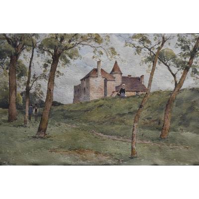 Paul Lecomte (1842-1920), Le Vieux Prieuré à Mennetou Sur Cher, Aquarelle Signée