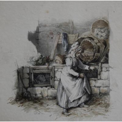 Attribué à Eugène Lami (1800-1890), Jeune Femme Nourrissant Ses Lapins, Aquarelle