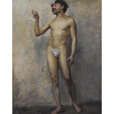 Edmond Suau (1871-1929) Une Académie, Standing Man, Oil On Canvas Signed