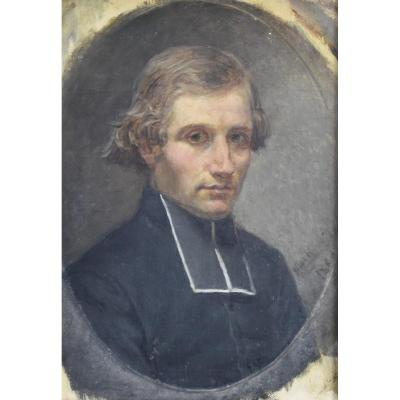 French School XIX °, Portrait Of A Young Priest, 1860, Oil On Canvas