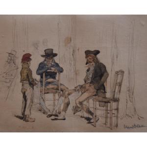 Edouard Detaille (1848-1912) Le Jeune Vendeur De Journaux,  Aquarelle