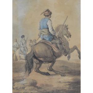 Attribué à Francesco Casanova (1727-1803), Un Mamelouk Combattant Sur Son Cheval, Aquarelle