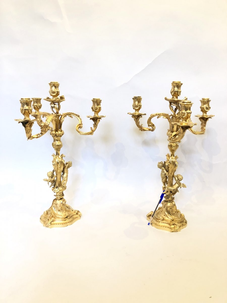 Pair Of Candelabra Louis XV Style Gilt Bronze.