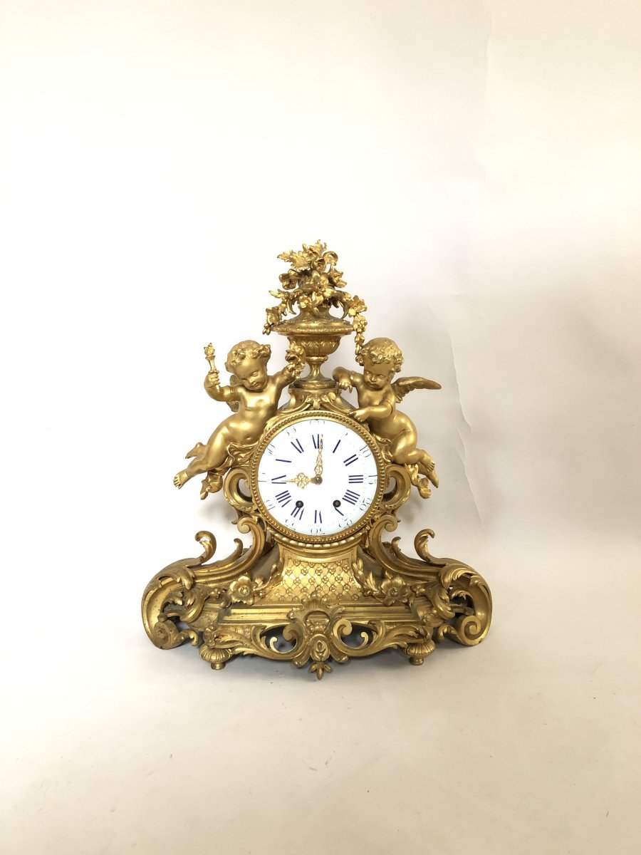 Clock 19 Th Century In Gold Plate.