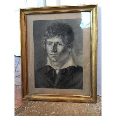 Portrait d'Homme d'époque Du Début Du XIX ème Siècle.