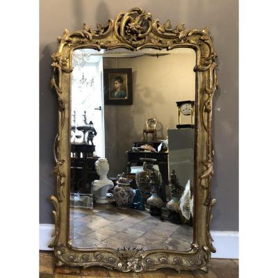 Miroir En Bois Sculpté et  Doré D'époque Napoléon III.