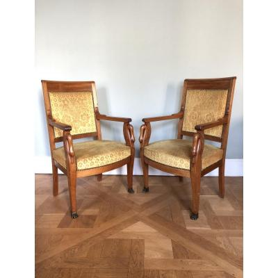 Pair Of Empire Period Armchairs.