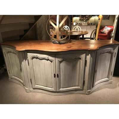 Louis XV Curved Wood Paneling Sideboard