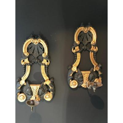 Pair Of Golden Wood Sconces